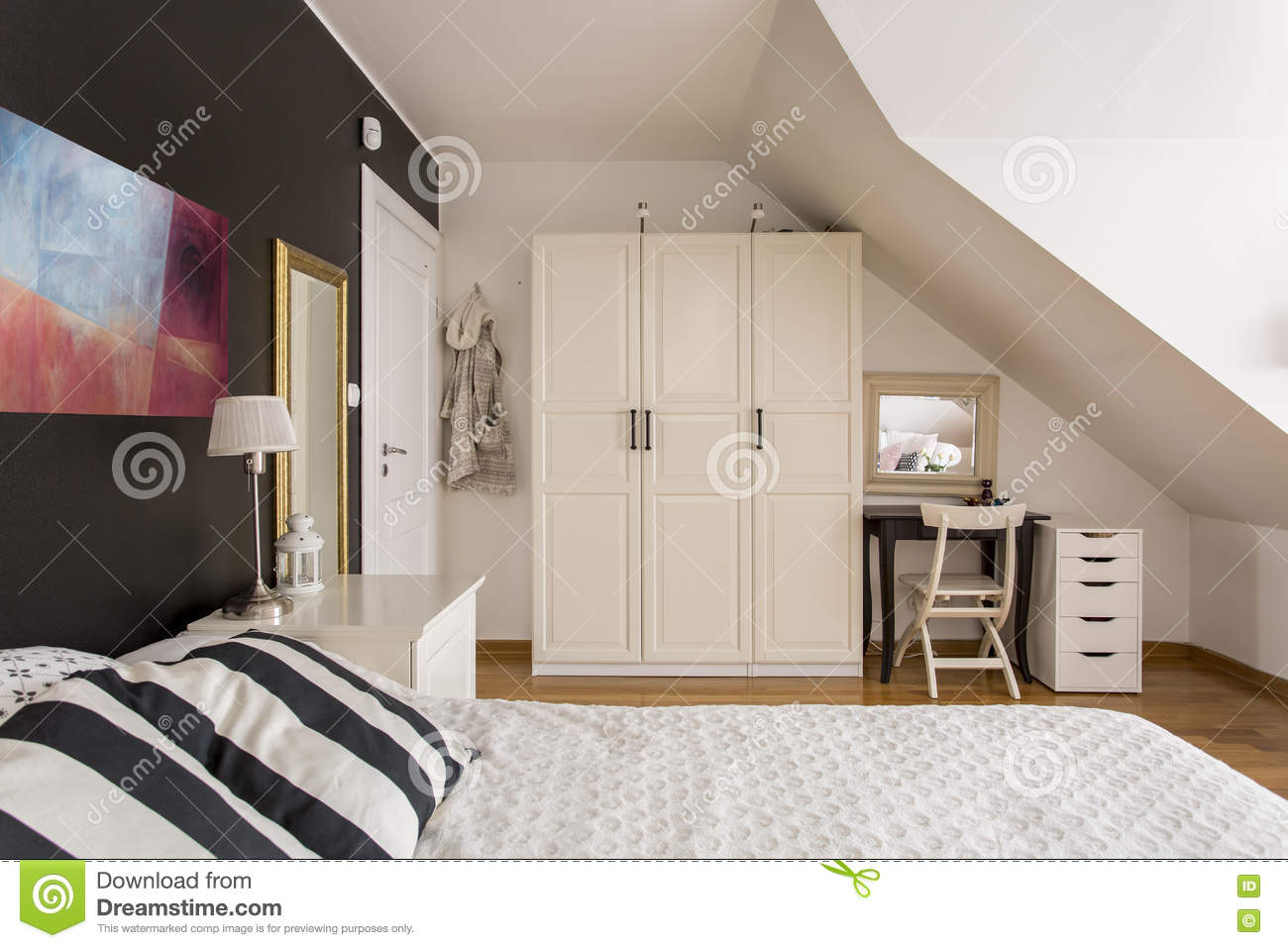 Timeless Black And White Bedroom Idea Stock Image Image Of
