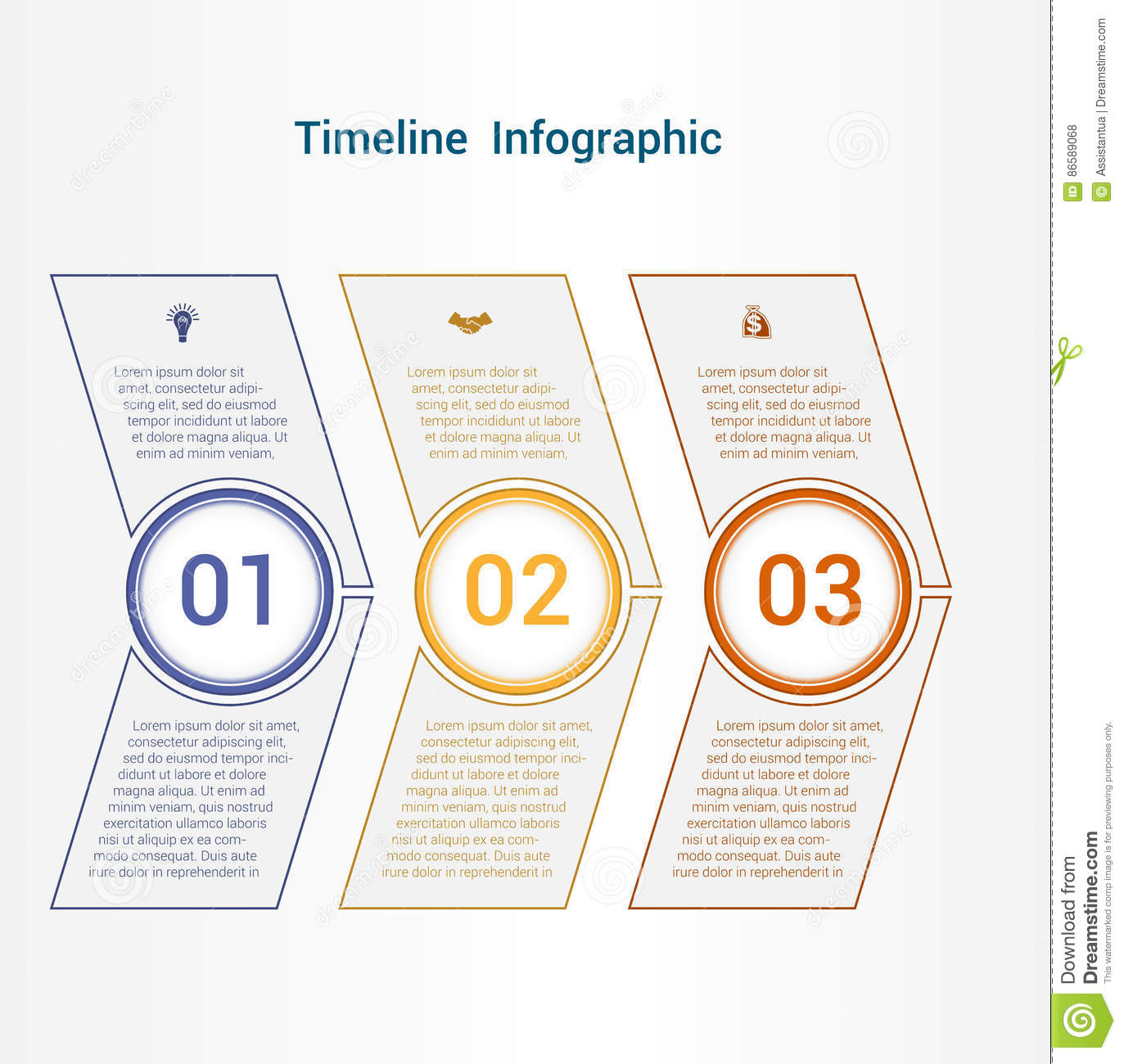timeline or area chart template infographics 3 position stock