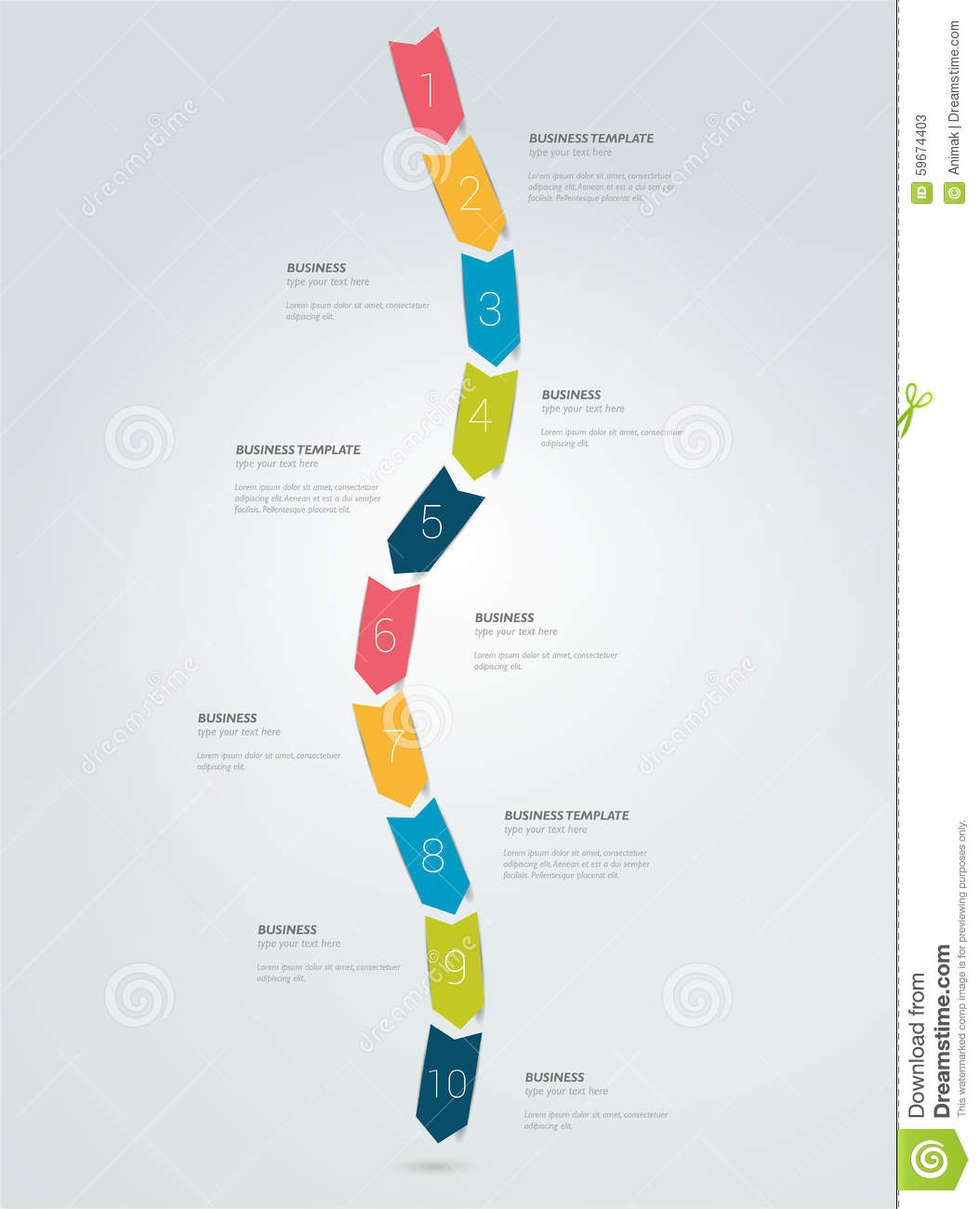 timeline arrow snake infographic template stock illustrations 15
