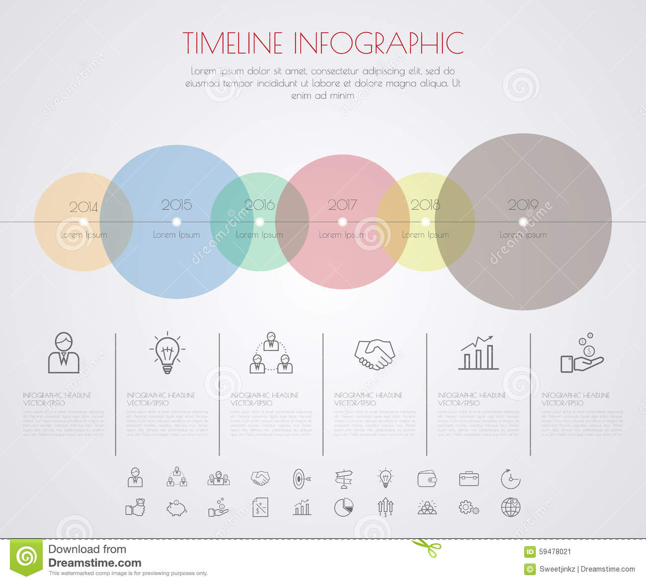 Timeline Circles Infographic. Flat Vector Design Template ...