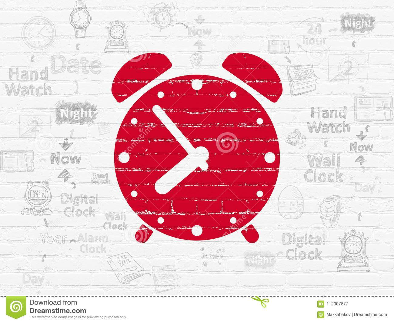 Timeline Concept: Alarm Clock On Wall Background Stock