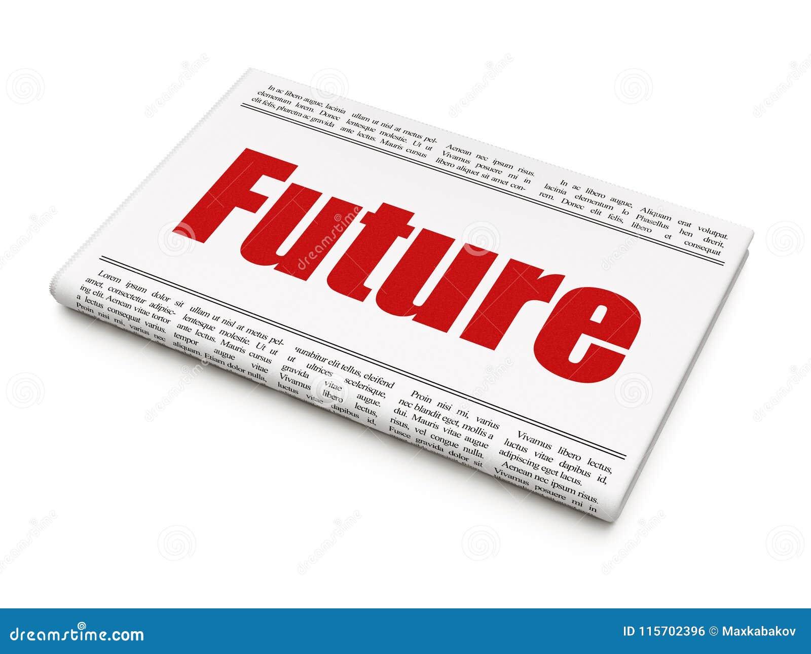 Timeline Concept: Newspaper Headline Future Stock