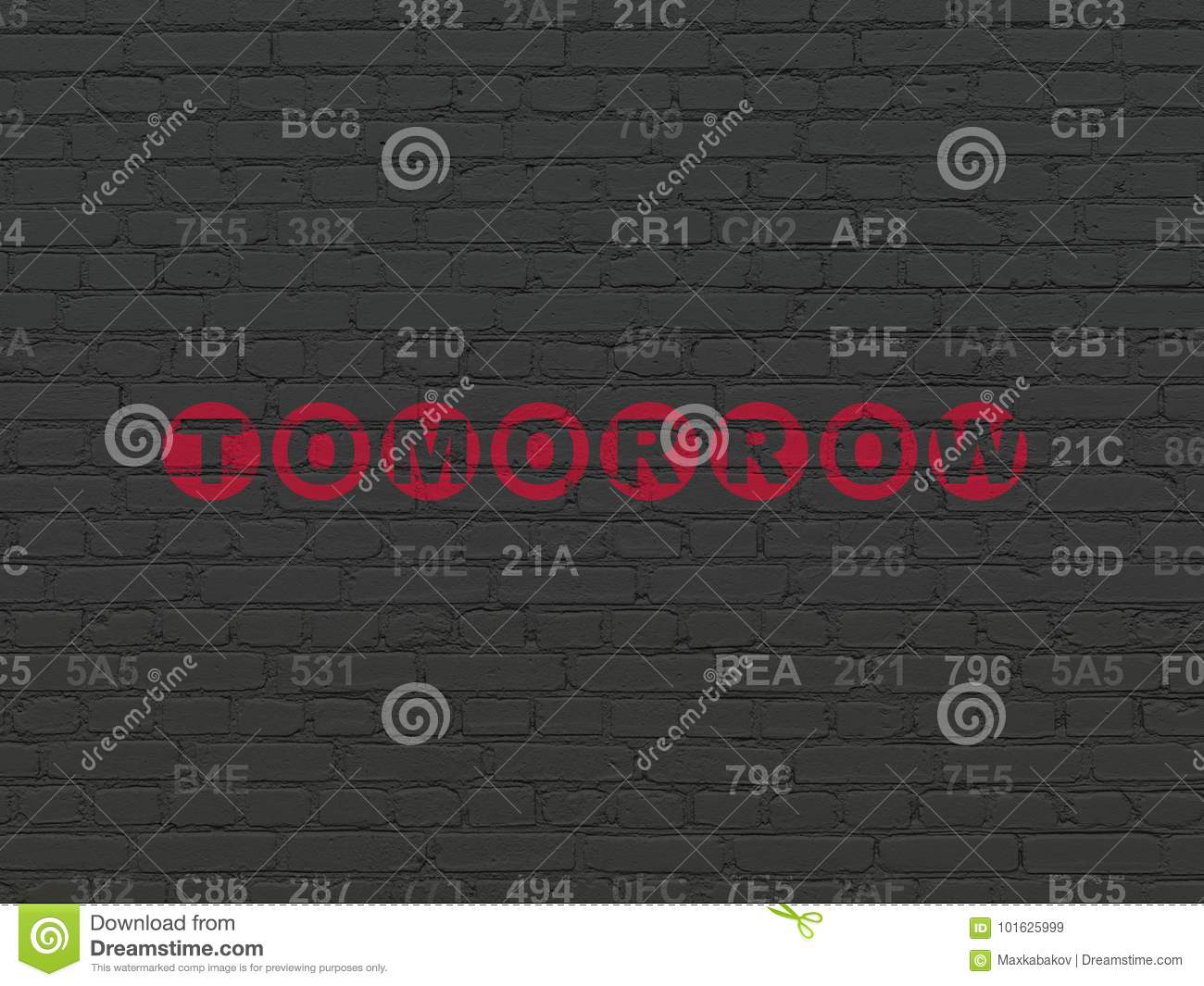 Timeline Concept: Tomorrow On Wall Background Stock Illustration