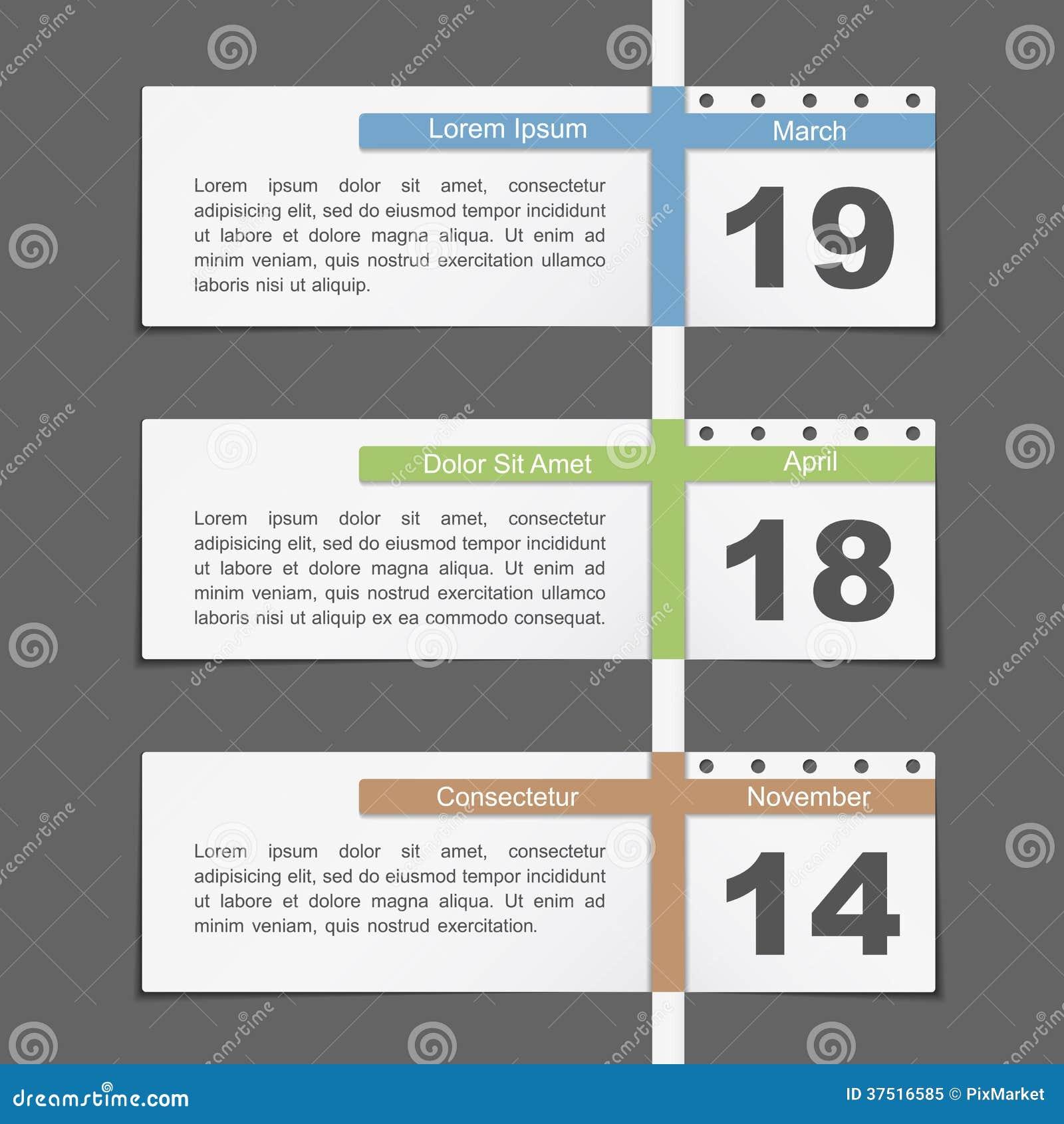 timeline design template with calendar dates mr no pr no 0 122 0