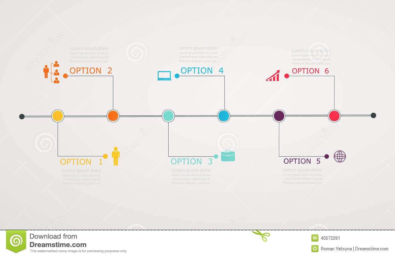 Timeline Infographic With Business Icons, Step By Step ...