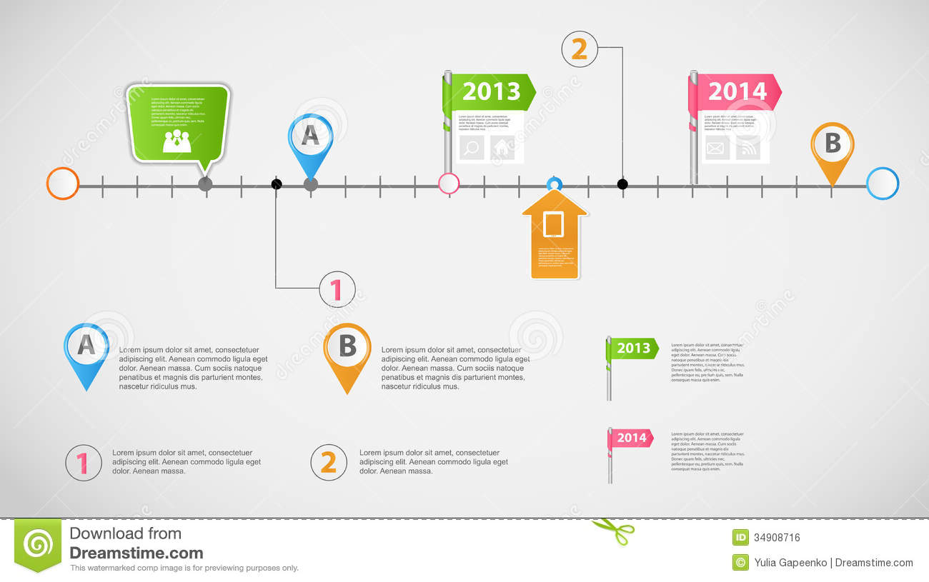 Timeline Infographic Business Template Vector Stock Vector - Timeline graphic template
