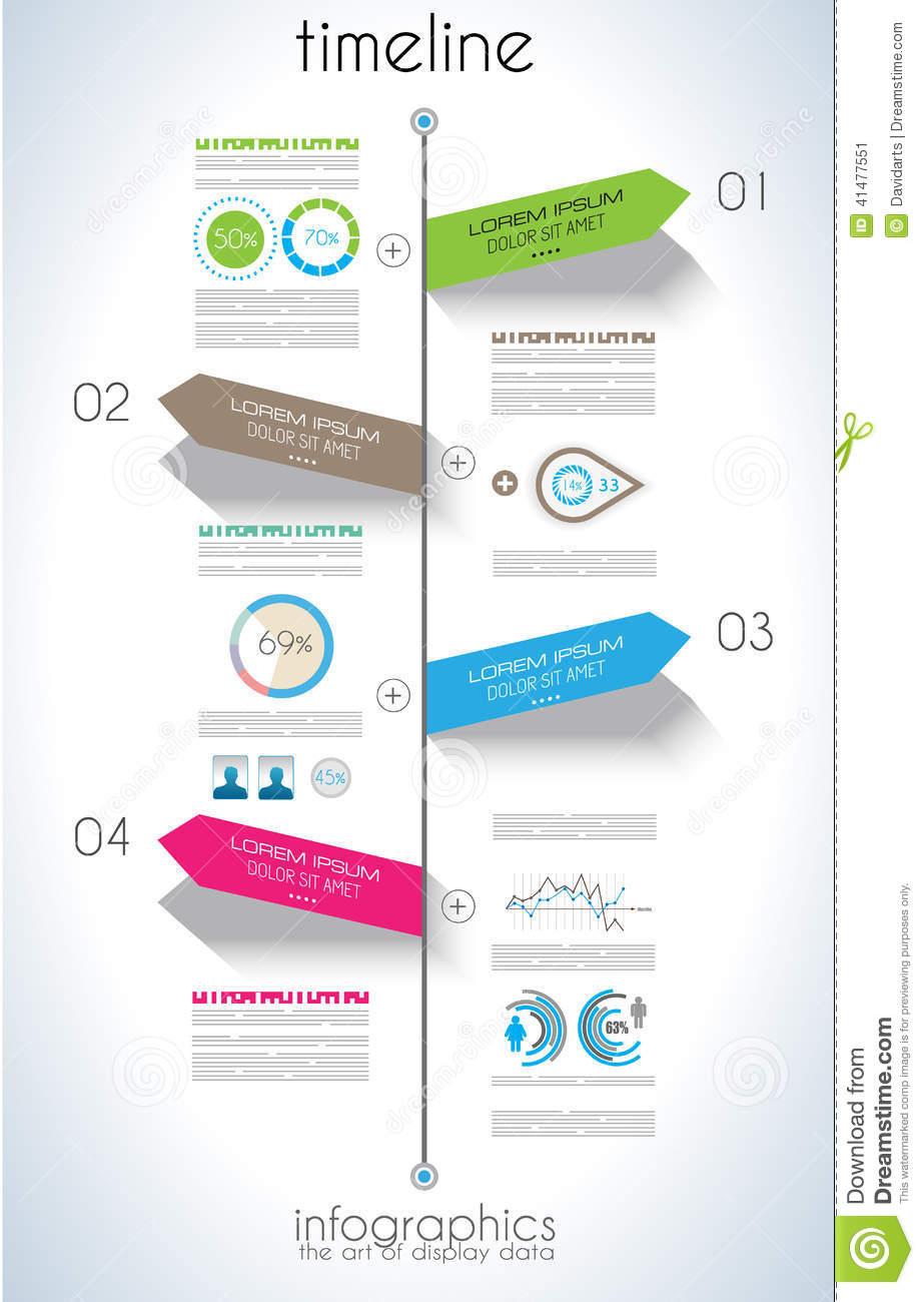 timeline infographic design template with paper tags stock