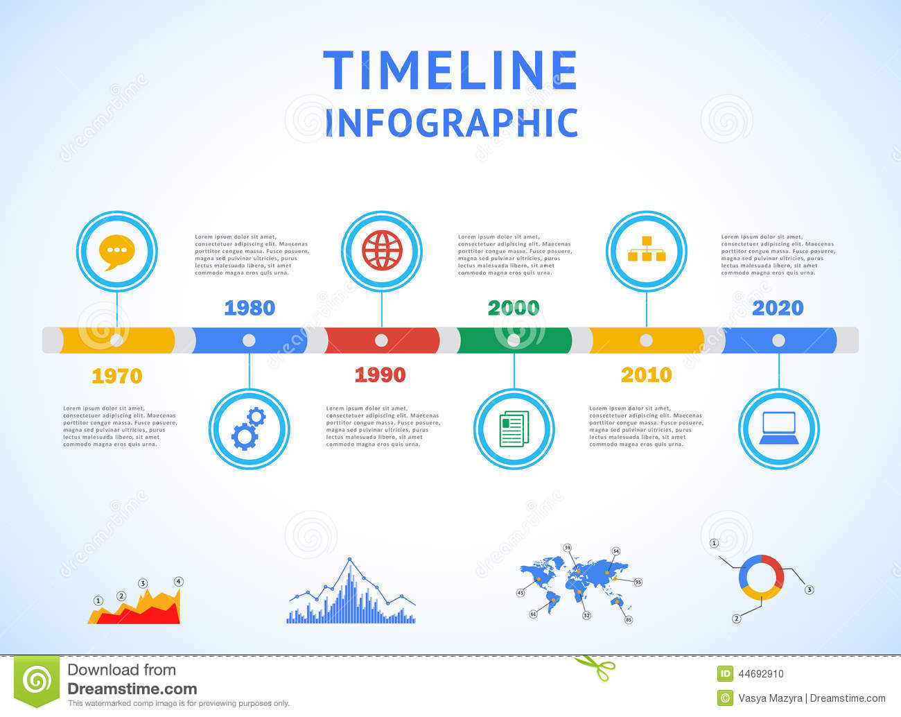 Timeline Infographic With Diagrams And Text Stock Vector ...