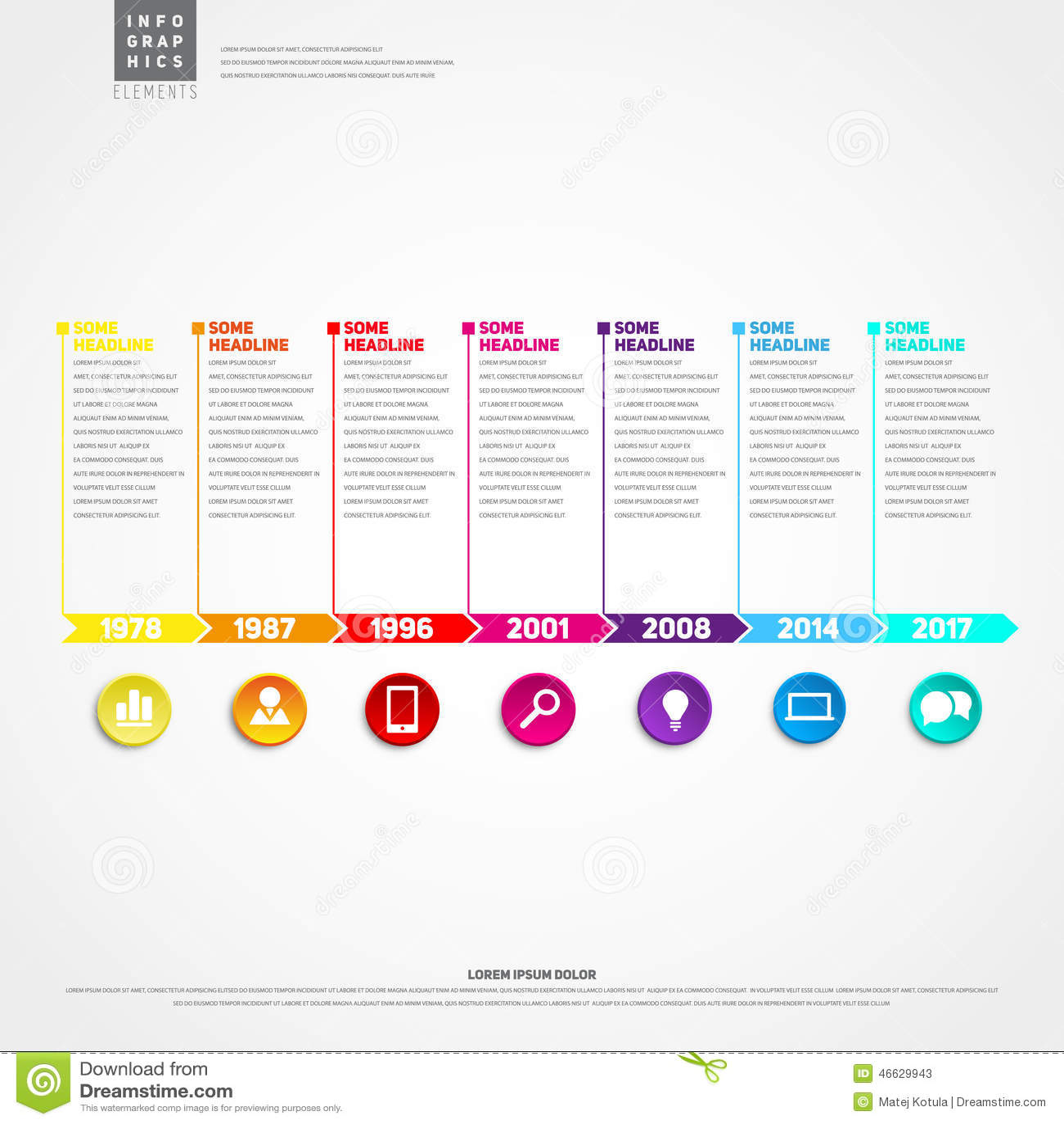 timeline infographic template with icons set for business design cartoon vector cartoondealer. Black Bedroom Furniture Sets. Home Design Ideas