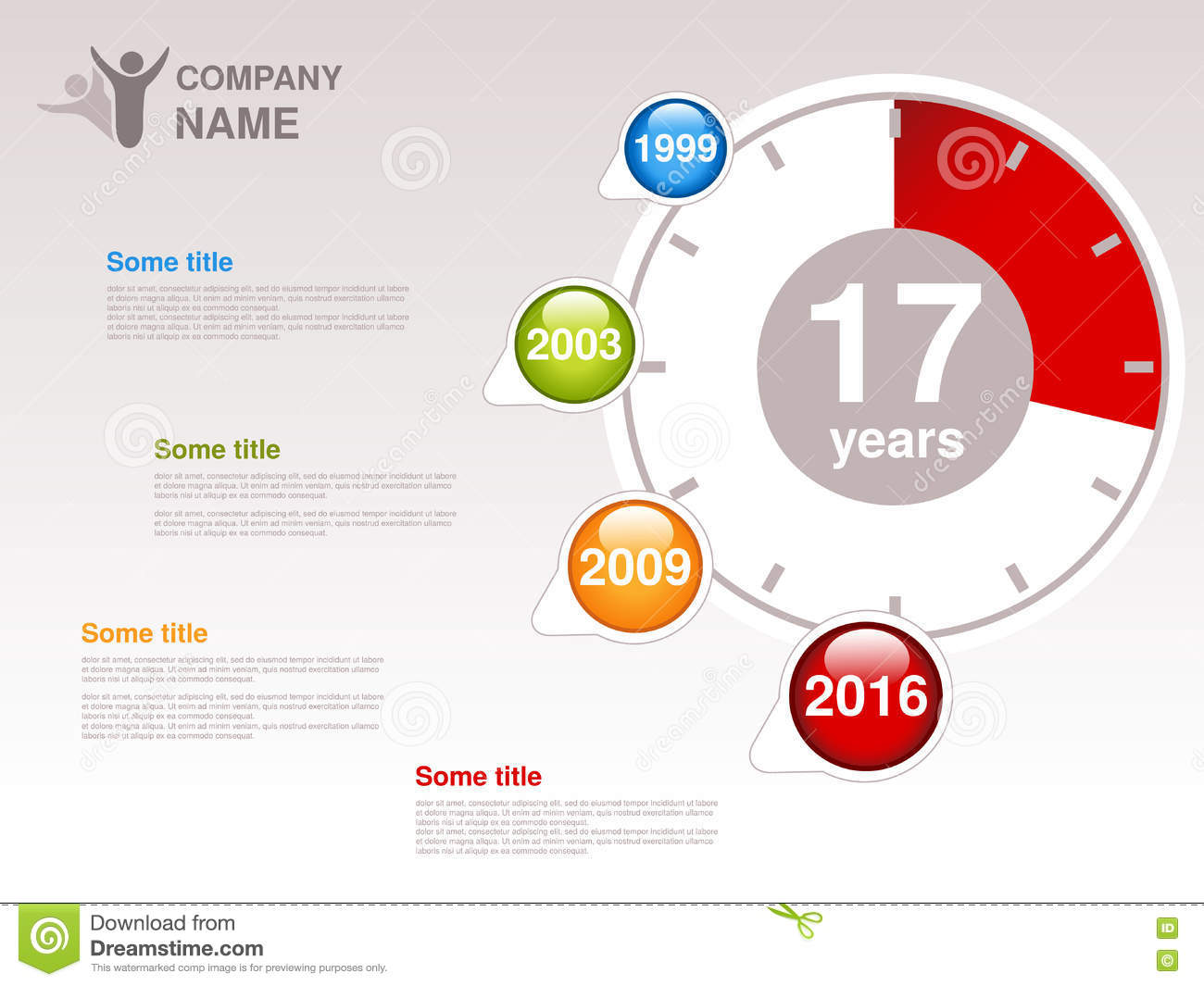 timeline  infographic template for company  timeline with colorful milestones