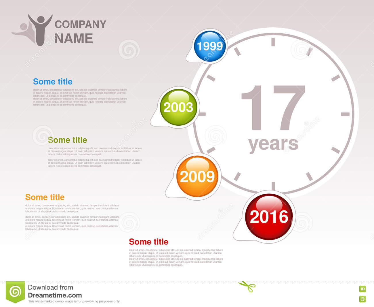 timeline infographic template for company timeline with colorful