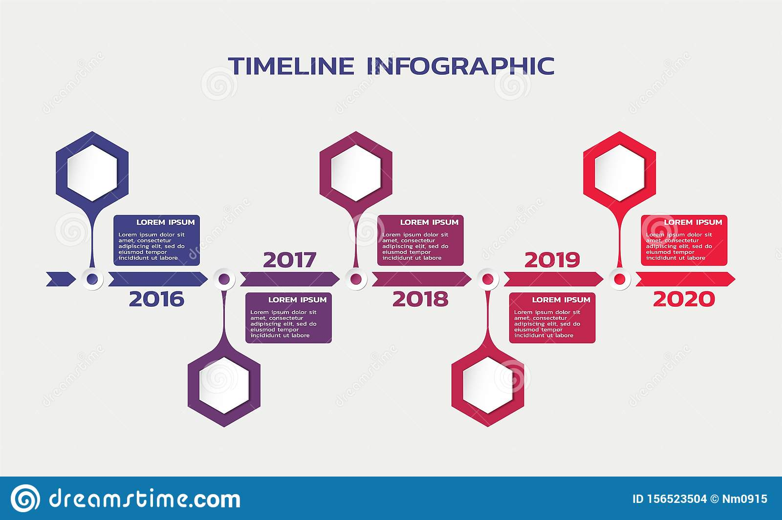 Timeline infographic template with hexagons, years and text. process flowchart