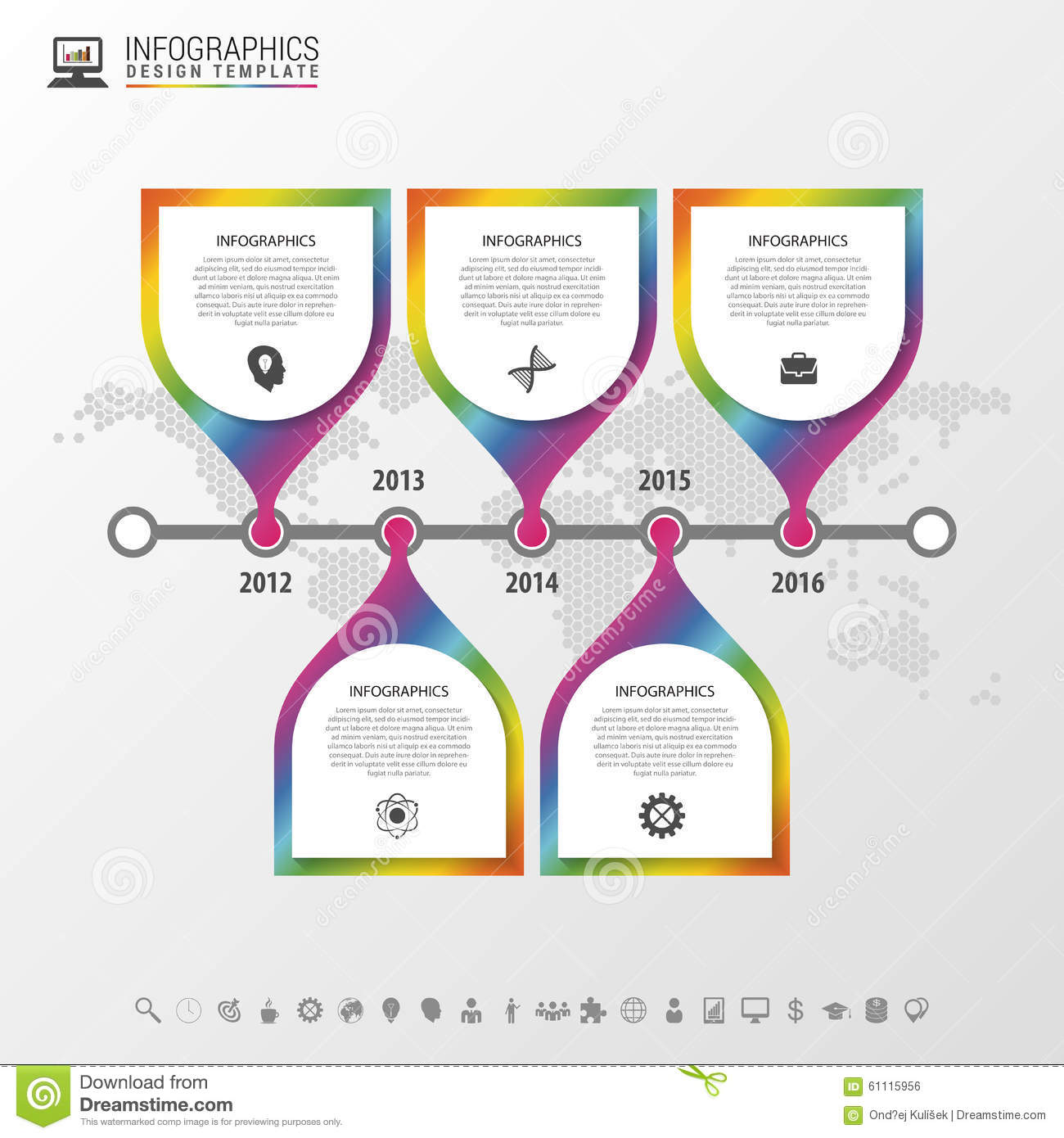 Timeline infographic with world map colorful modern design template timeline infographic with world map colorful modern design template vector illustration gumiabroncs Images