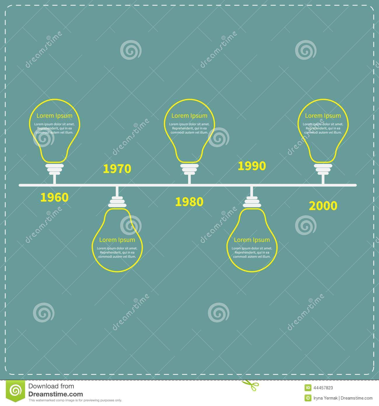 Timeline Infographic With Yellow Light Idea Bulb Stock