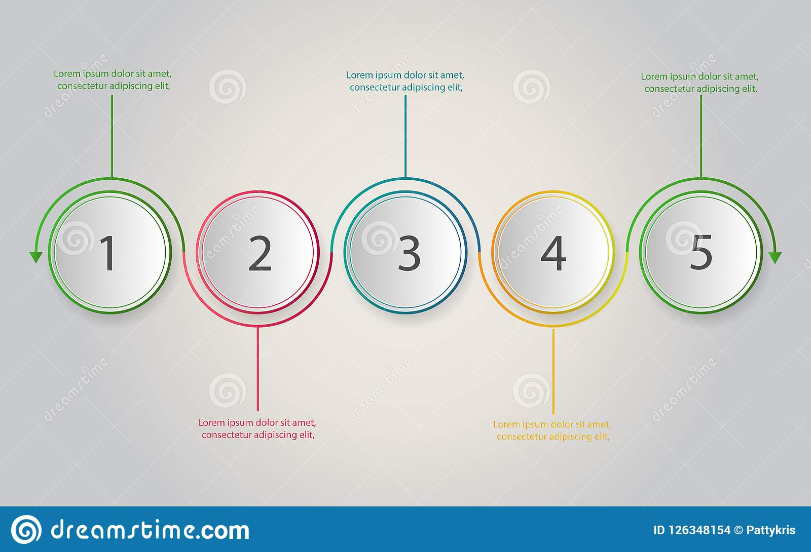 Timeline infographics. Business concept with 5 steps, number opt
