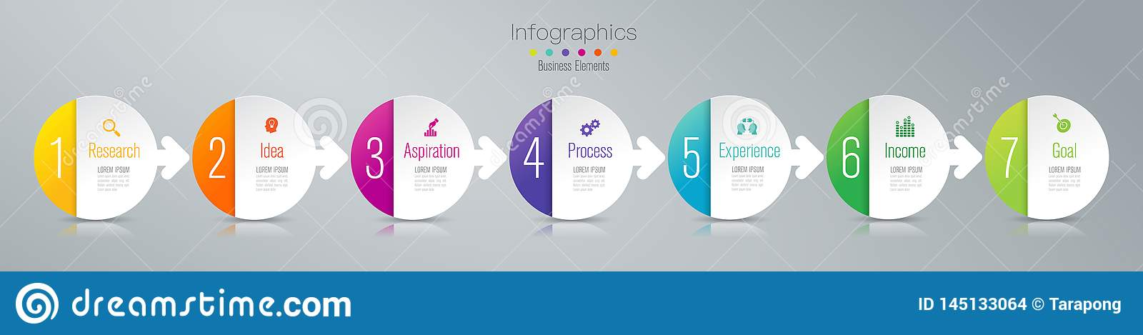 Timeline infographics design vector and marketing icons, Business concept with 7 options, steps or processes.