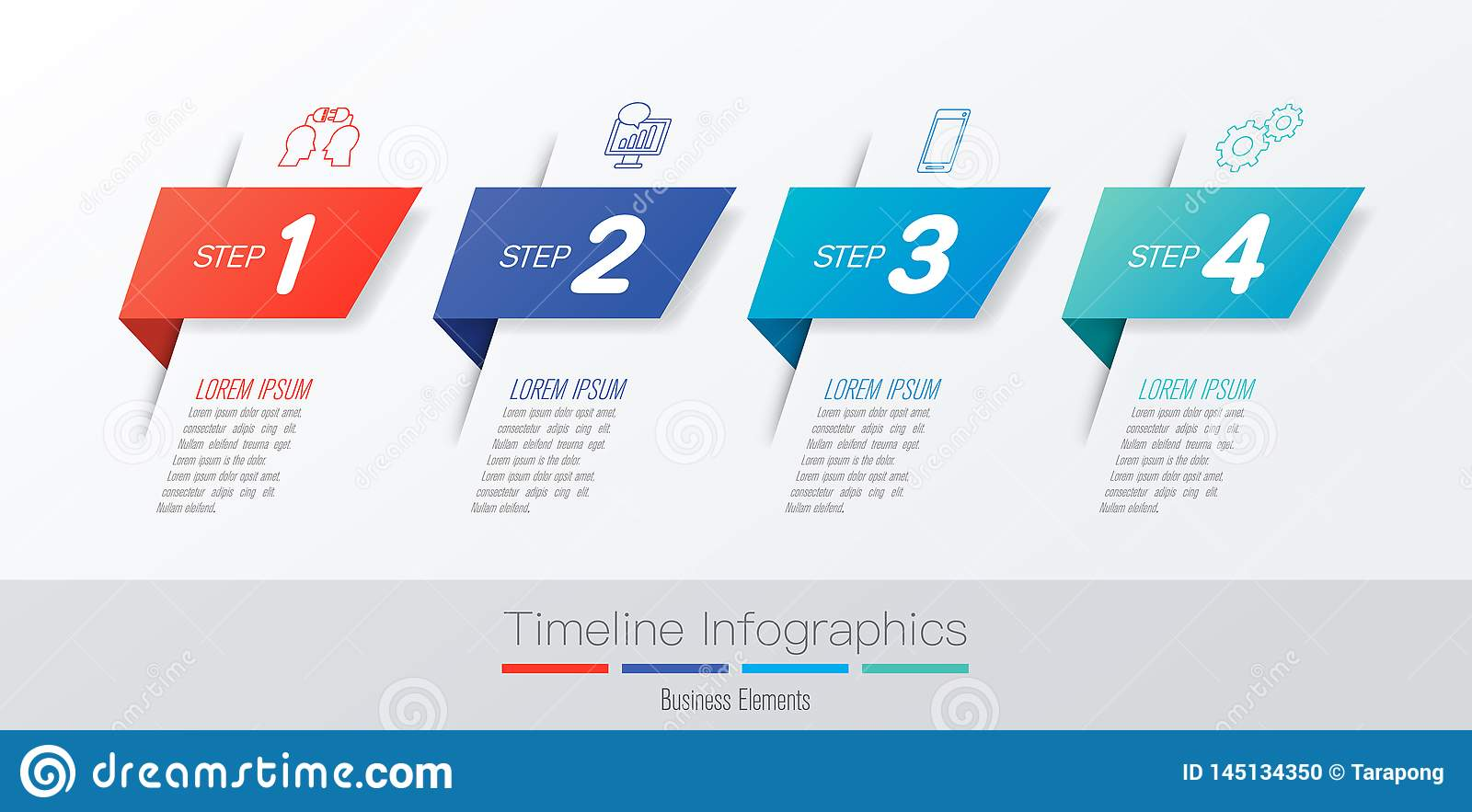 Timeline infographics design vector and marketing icons, Business concept with 4 options, steps or processes.