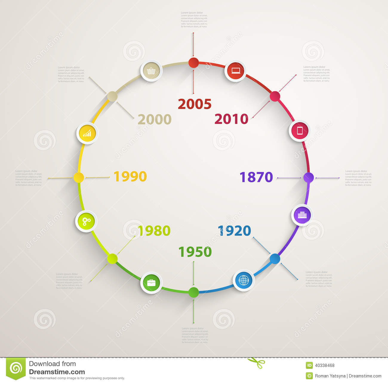 Timeline Infographics With Economic Icons Vector Circular ...