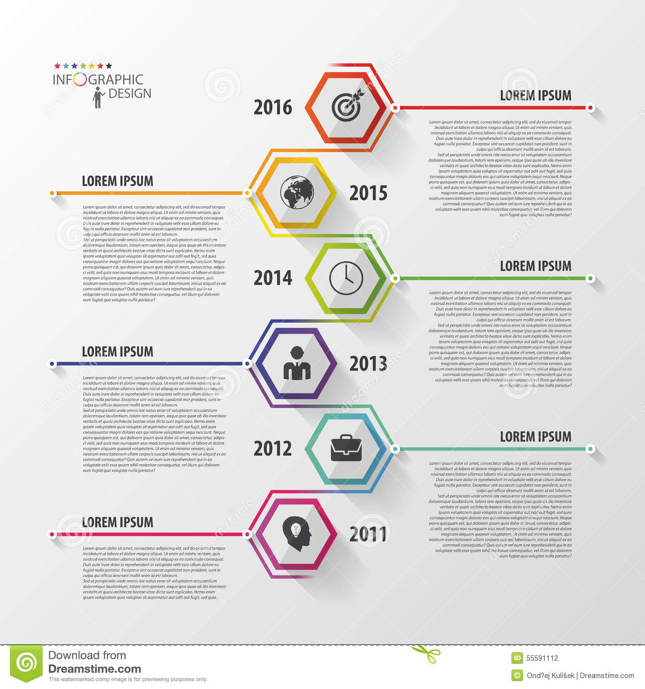 Timeline Infographics Hexagonal Design Template Vector Stock