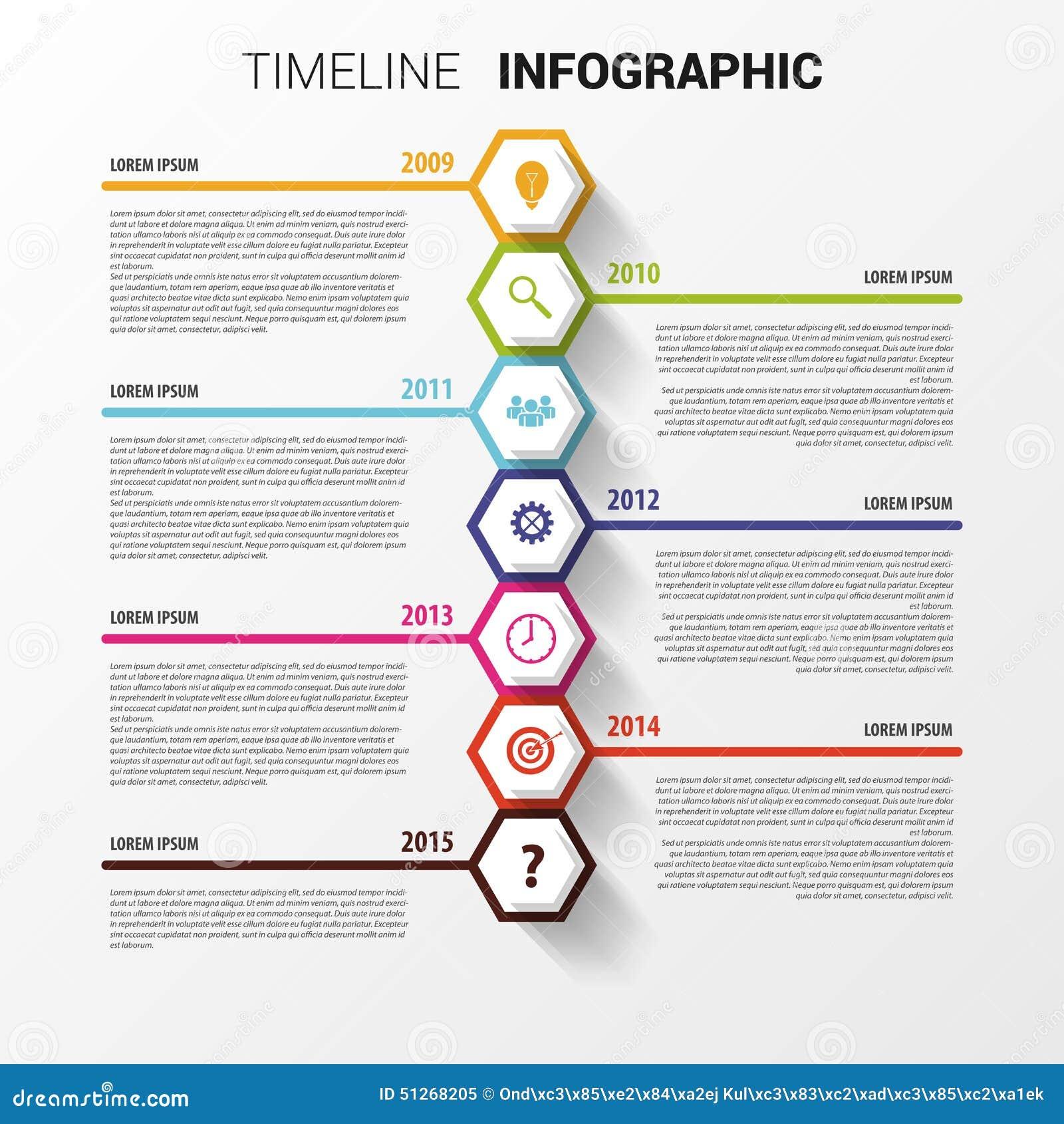 timeline infographics hexagonal design template vector stock vector image 51268205. Black Bedroom Furniture Sets. Home Design Ideas