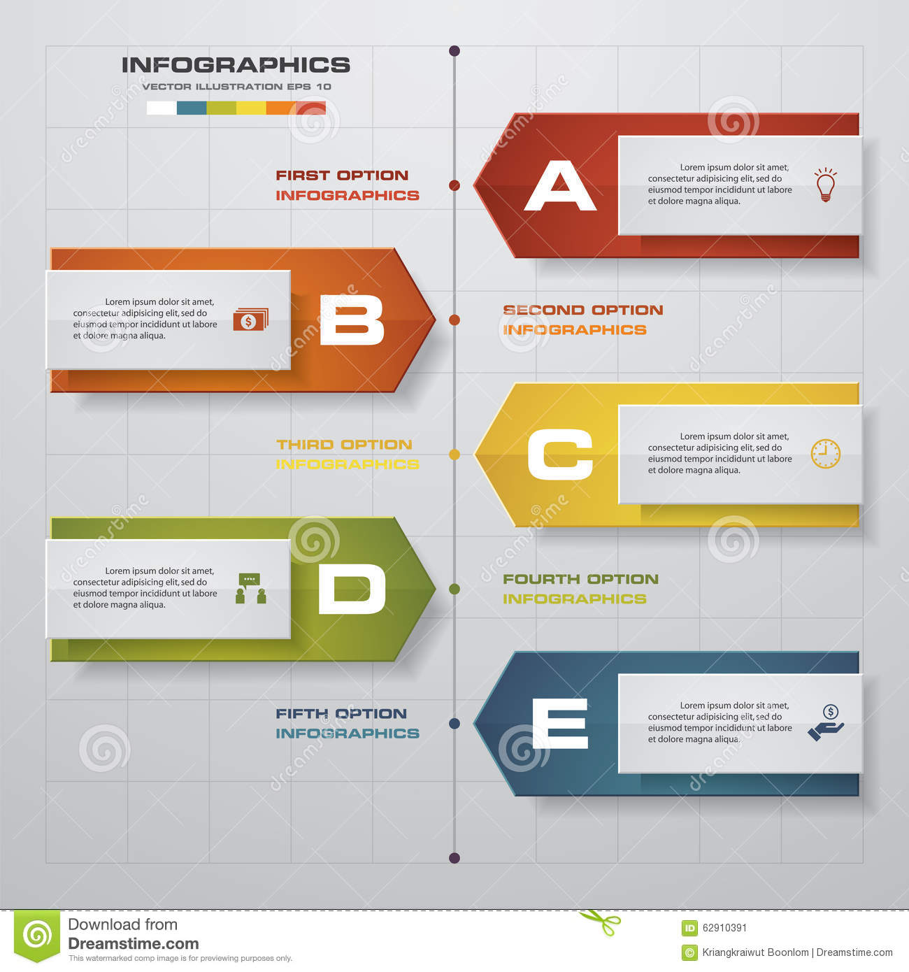timeline infographics 5 steps elements and icons design clean