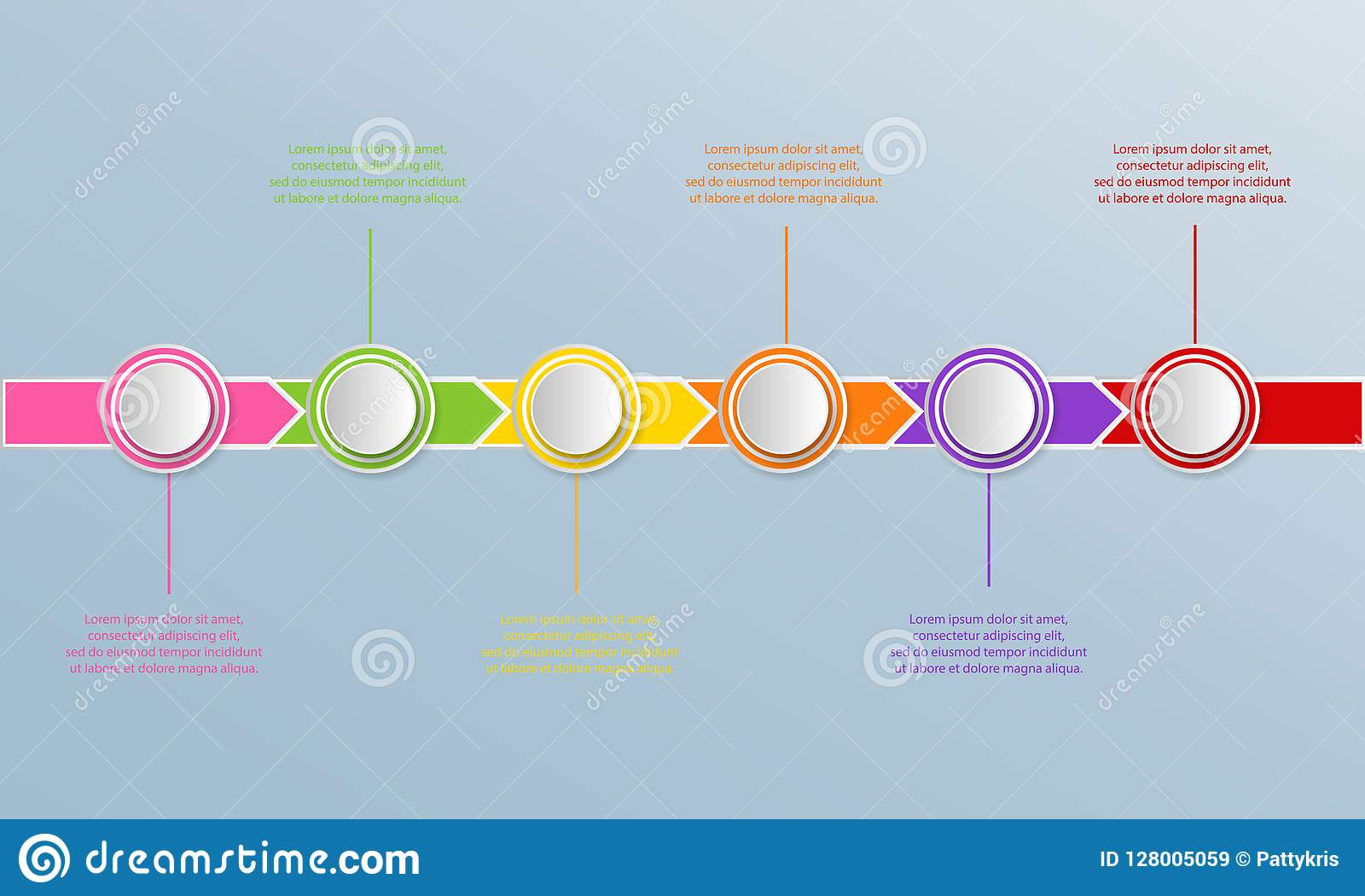 Timeline infographics template with arrows, flowchart, workflow