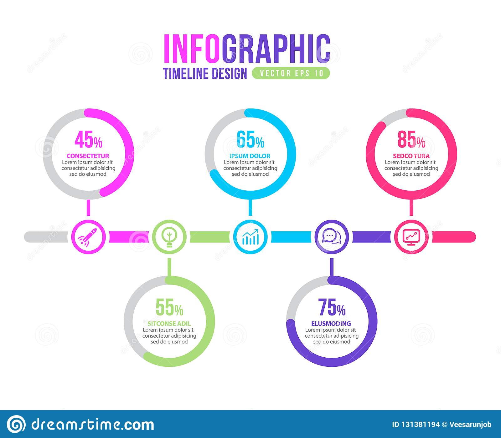timeline marketing growth profit infographic layout vector
