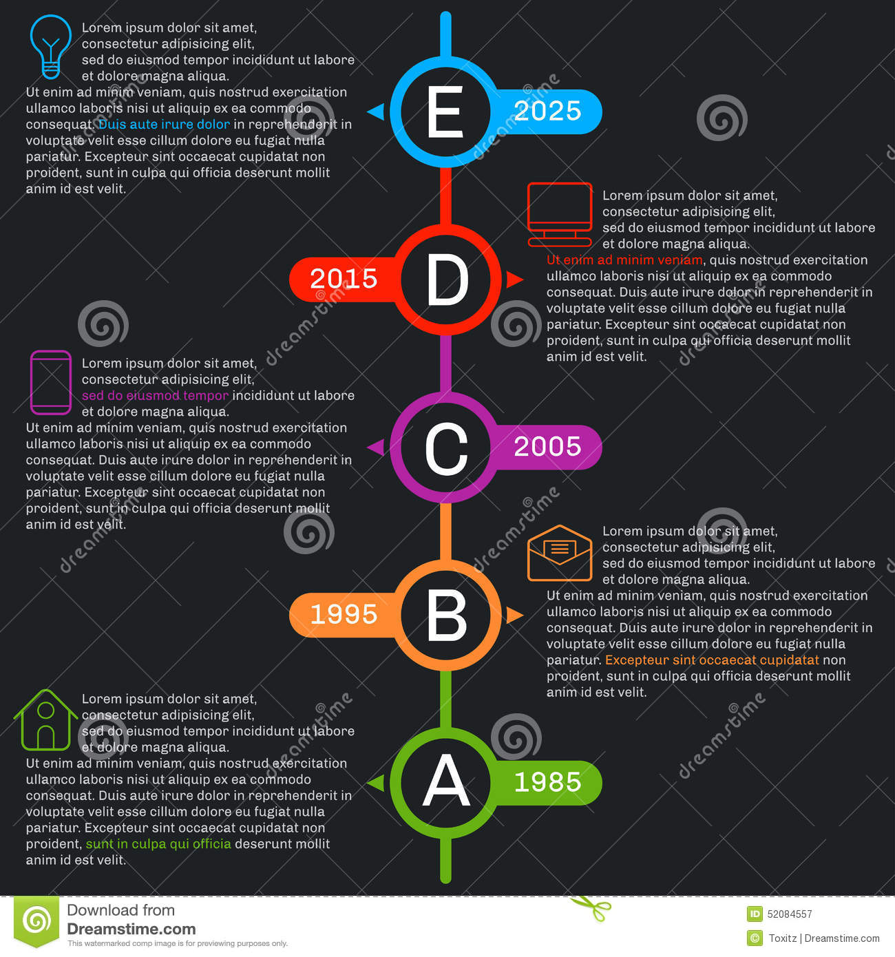 timeline template infographics  vertical progress  stock