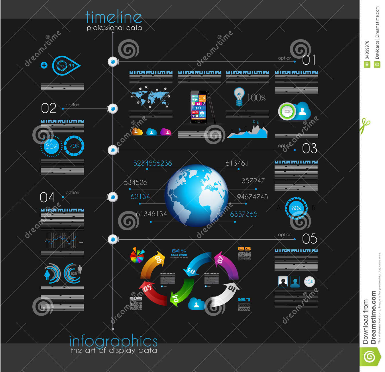 Timeline To Display Your Data With Infographic Elements Royalty ...