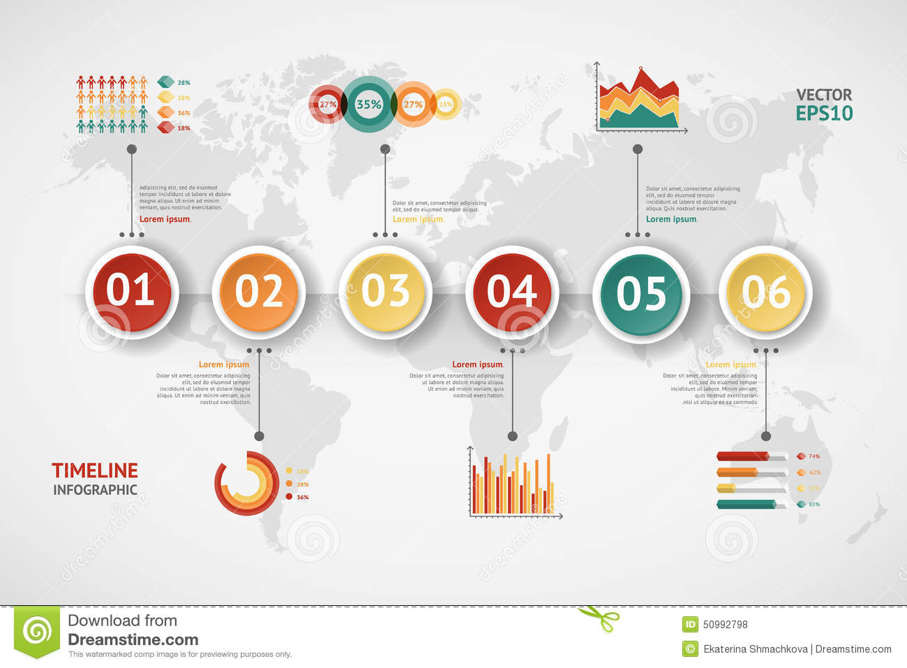 Timeline vector infographic world map stock vector illustration timeline vector infographic world map gumiabroncs Choice Image