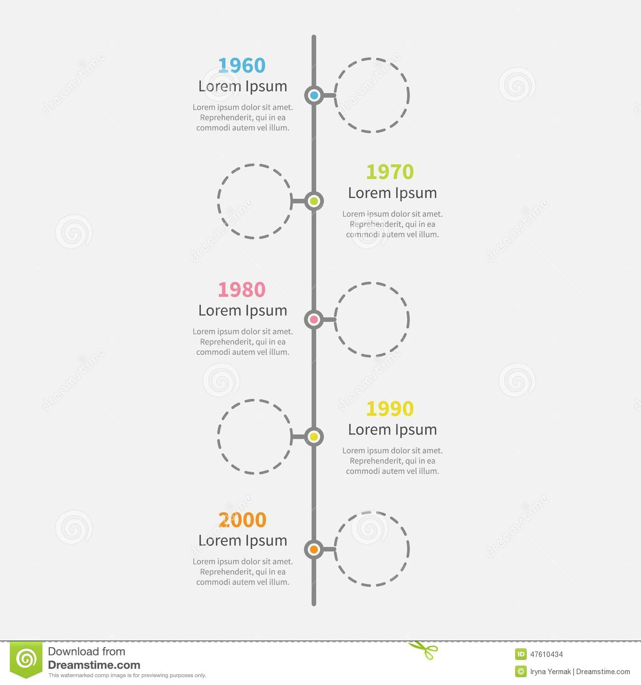 Timeline Vertical Infographic With Empty Dash Line Circles And - Plain timeline template