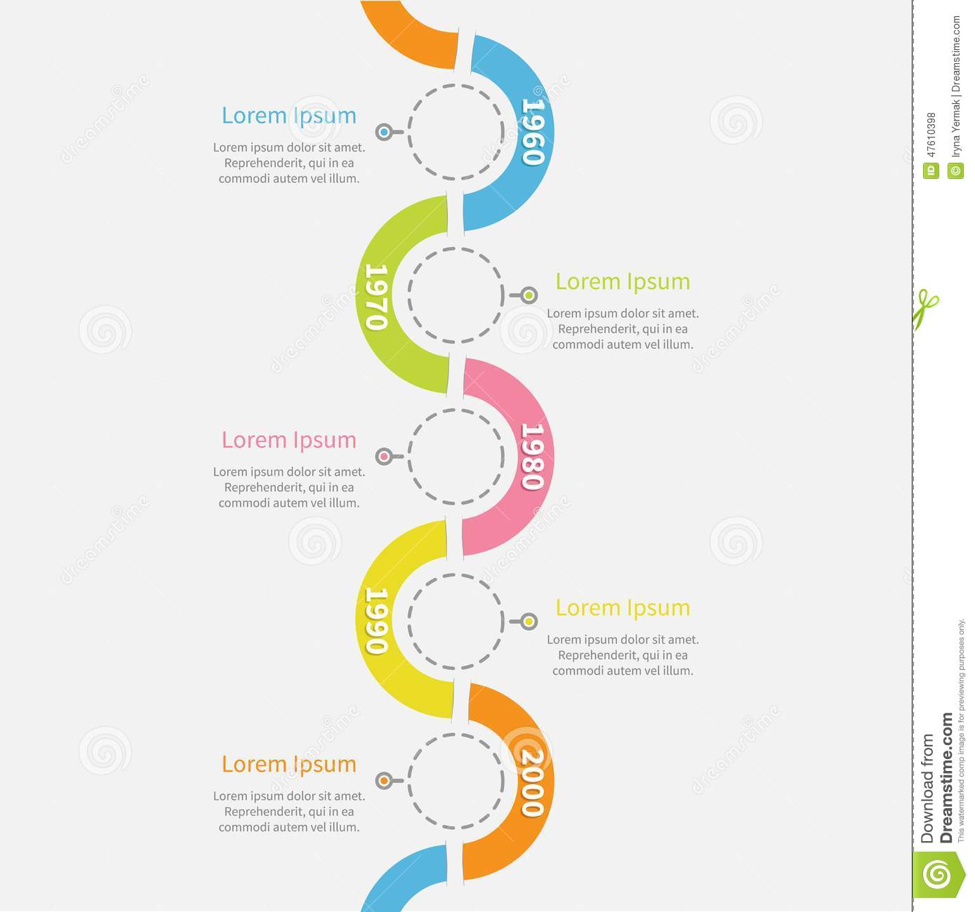 Timeline Vertical Infographic With Snail Shape Ribbon, Dash Line ...
