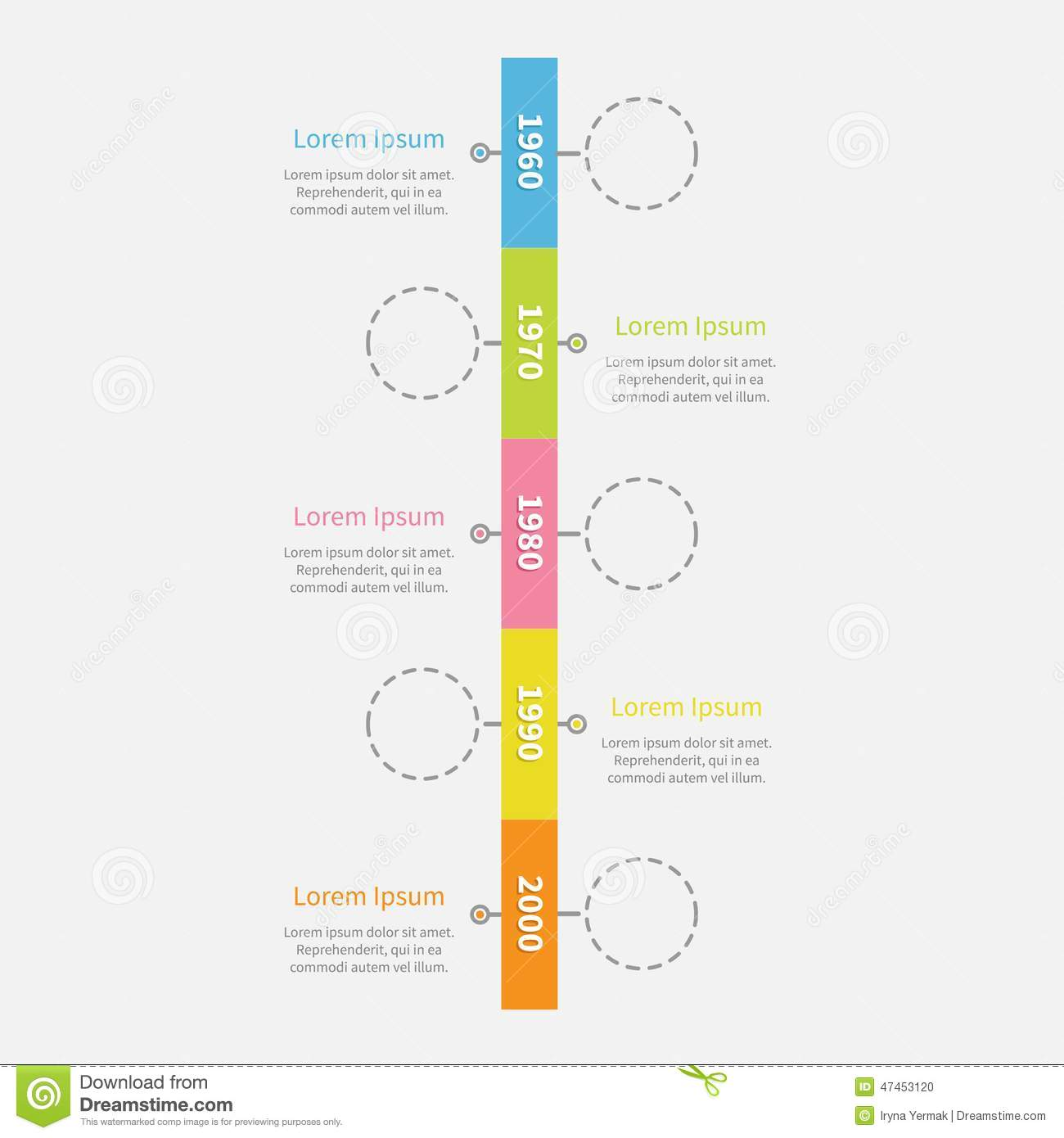 Timeline Vertical Ribbon Infographic With Empty Dash Line Circles ...