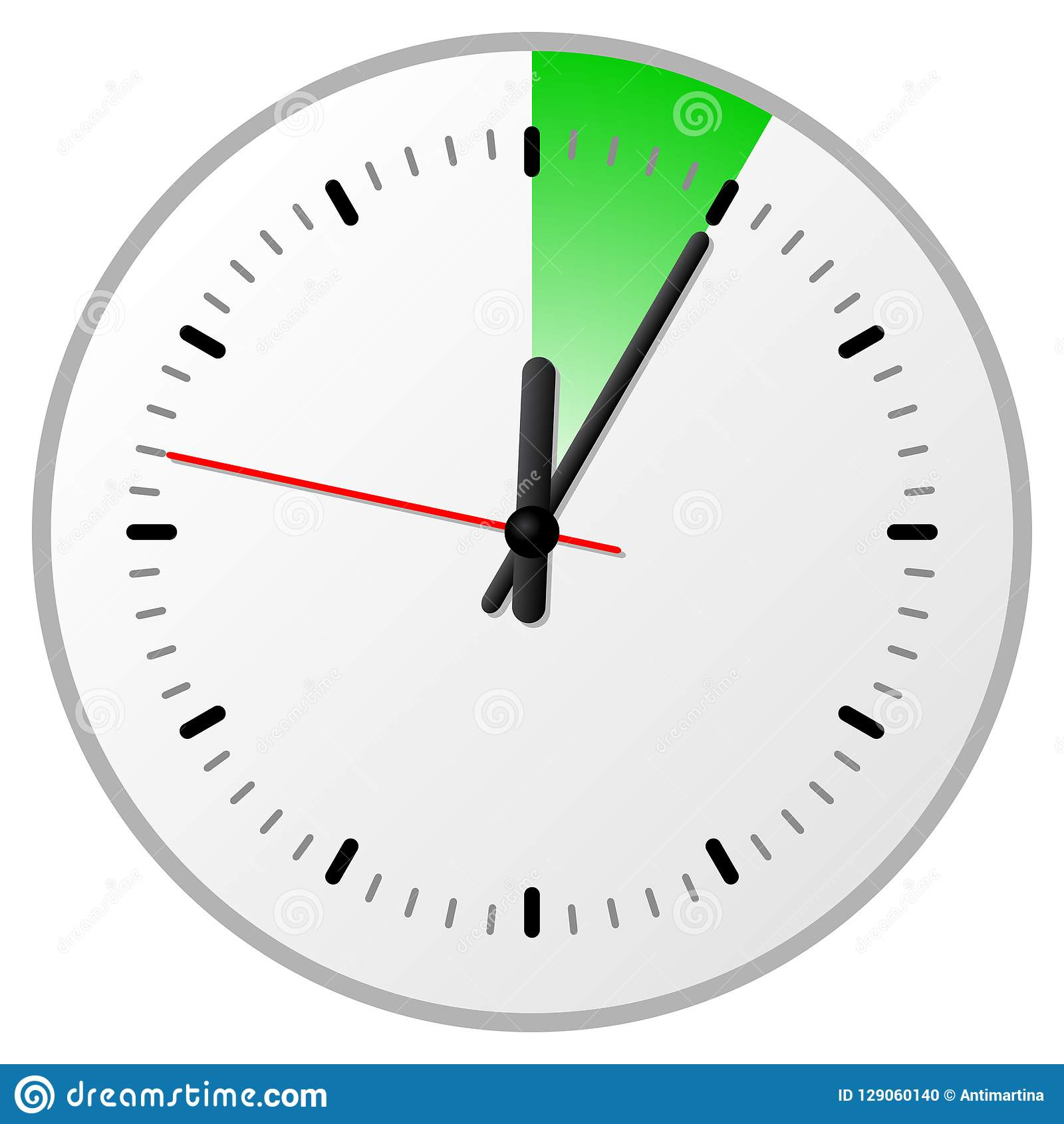 timer with 5 five minutes stock vector illustration of late 129060140