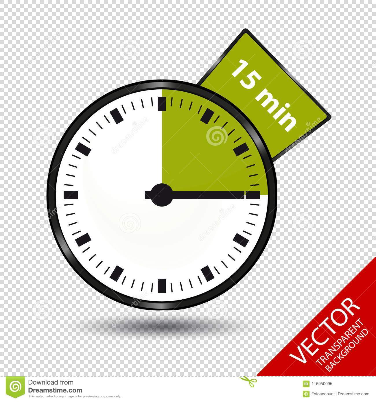 timer 15 minutes vector illustration isolated on transparent