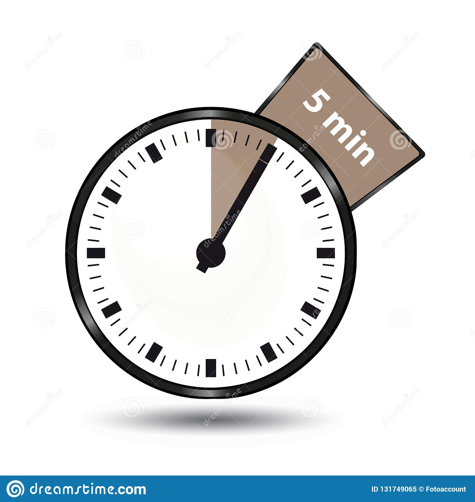 timer 5 minutes vector illustration isolated on white background