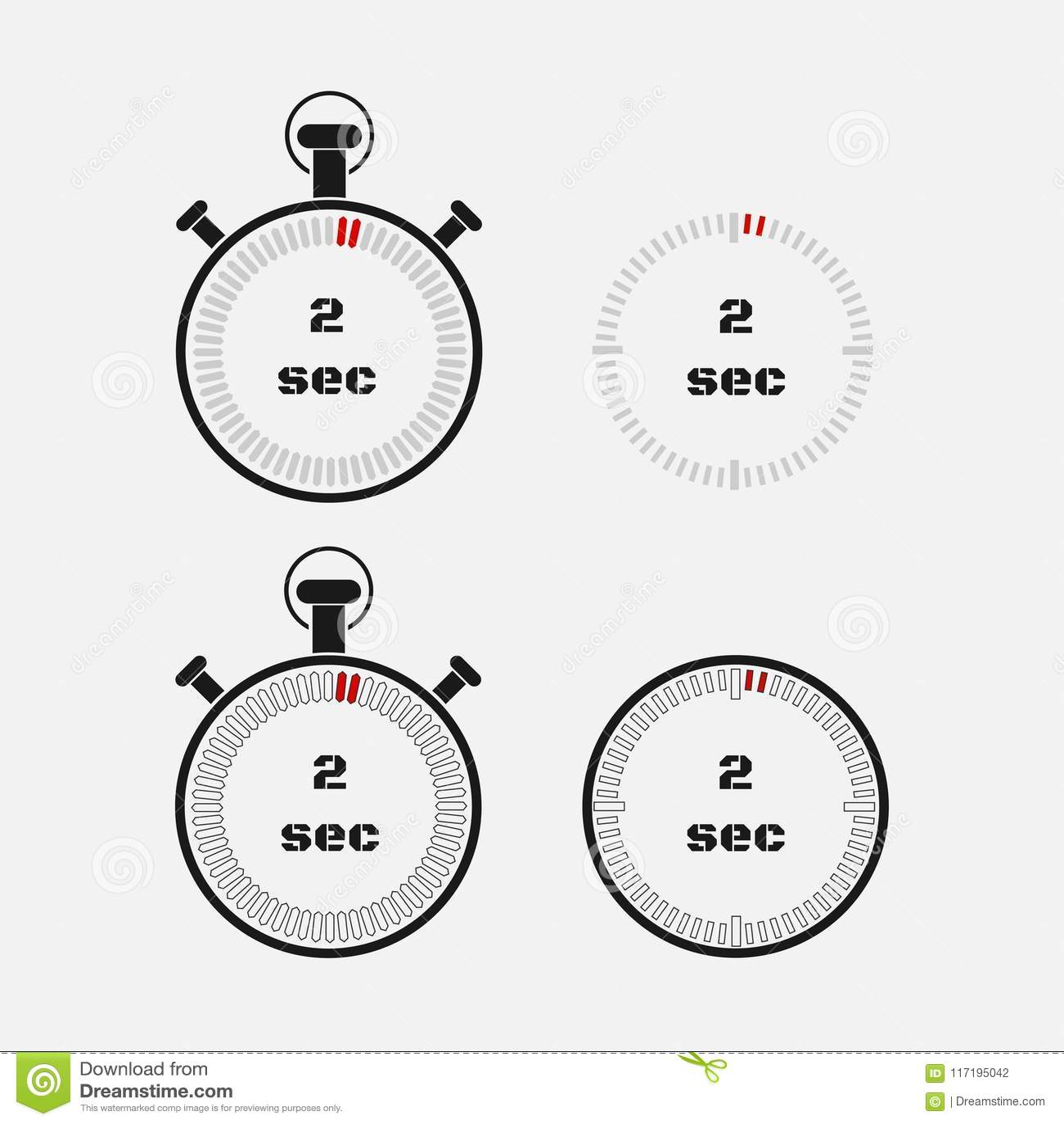 timer 2 seconds on gray background stock illustration