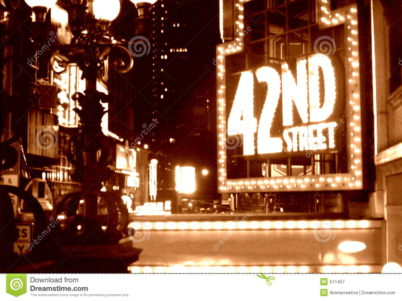 Times Square 42nd Street Sepia Royalty Free Stock ...