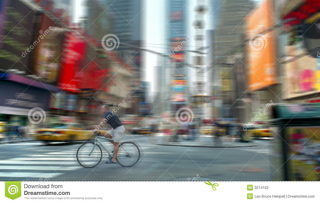 Times Square Bicycle Blur New York USA