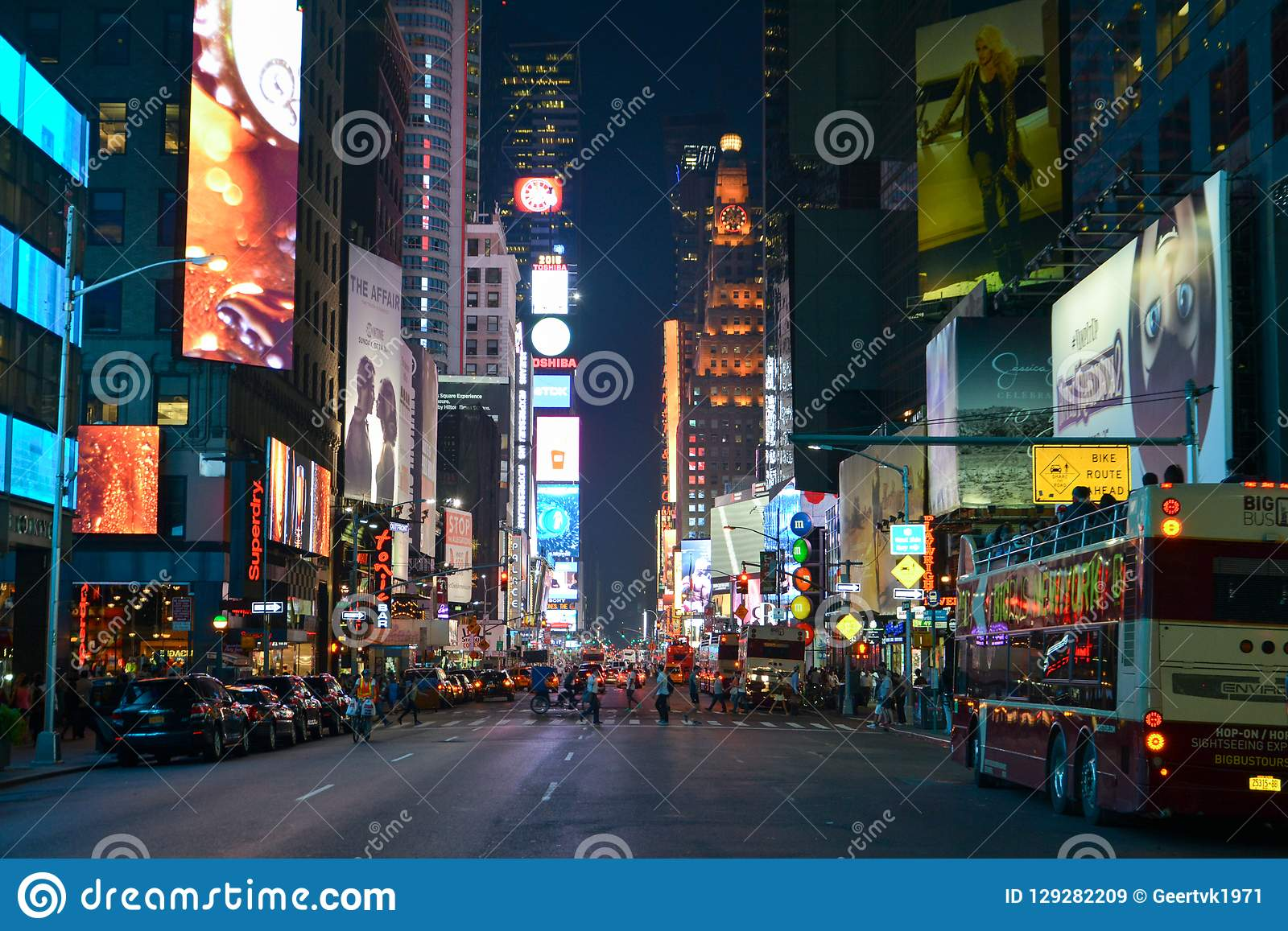Times Square in the evening taken from 7th avenue