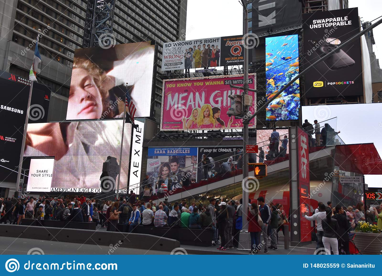Times Square, featured with Broadway Theaters and animated LED signs, in Manhattan