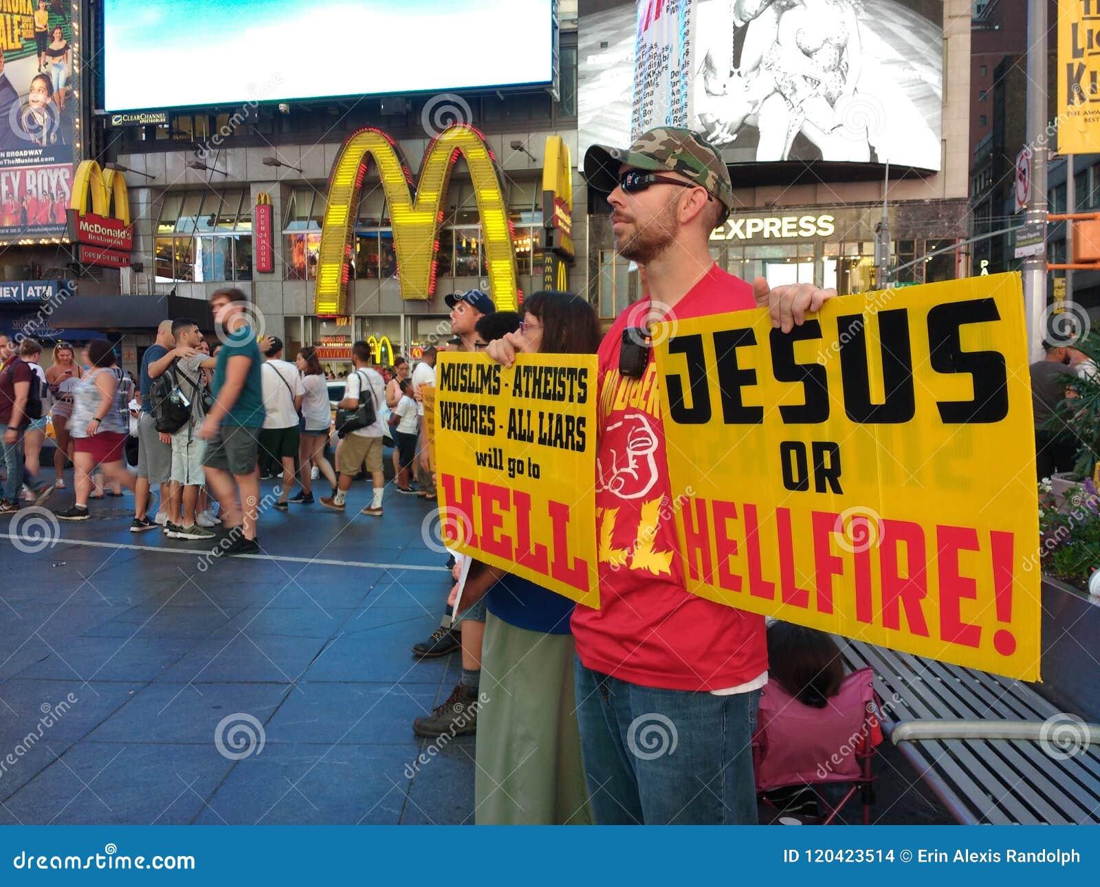 Times Square, het Godsdienstige Prediken, Jesus Or Hellfire! NYC, NY, DE V.S.