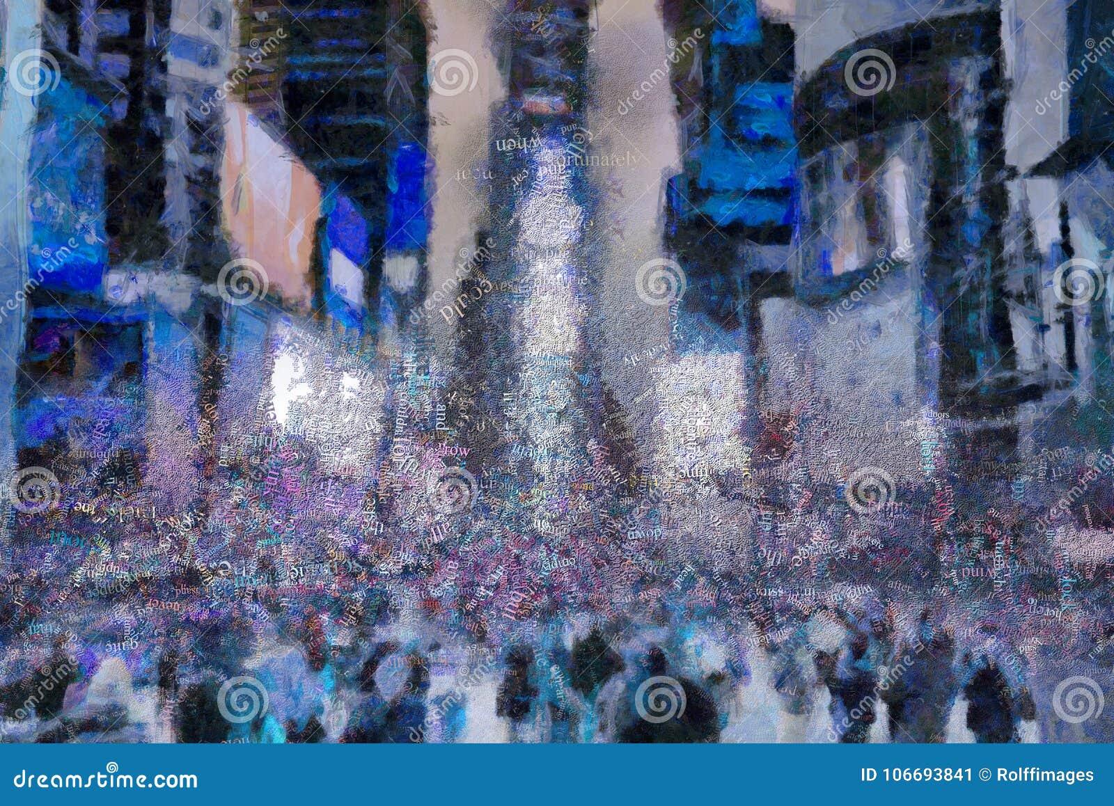 Times Square, het surreal schilderen woorden
