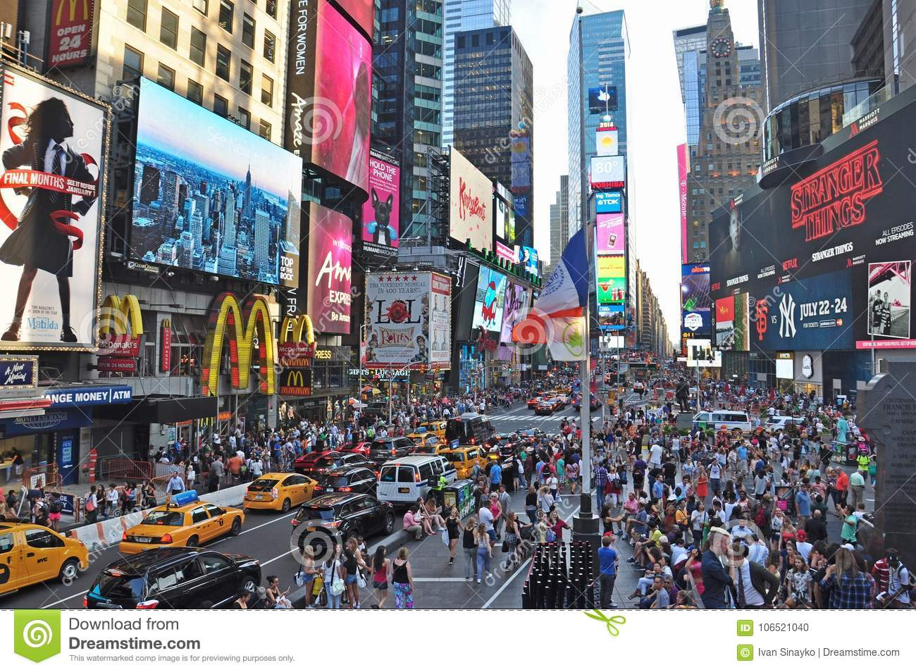 The worlds famous Times Square in New York City day time