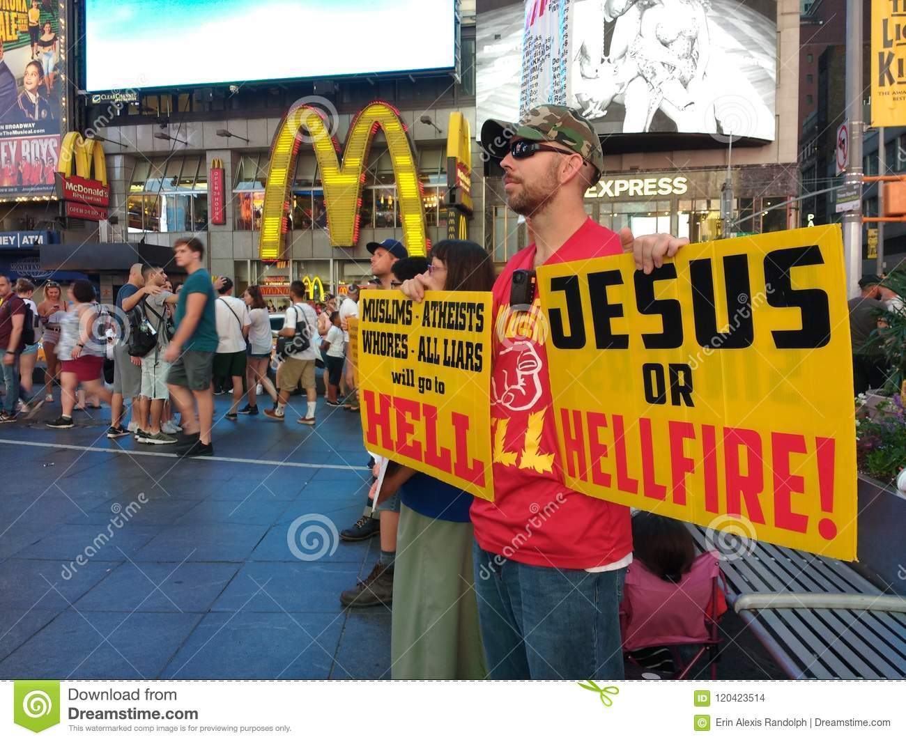 Times Square, Religious Preaching, Jesus Or Hellfire! NYC, NY, USA