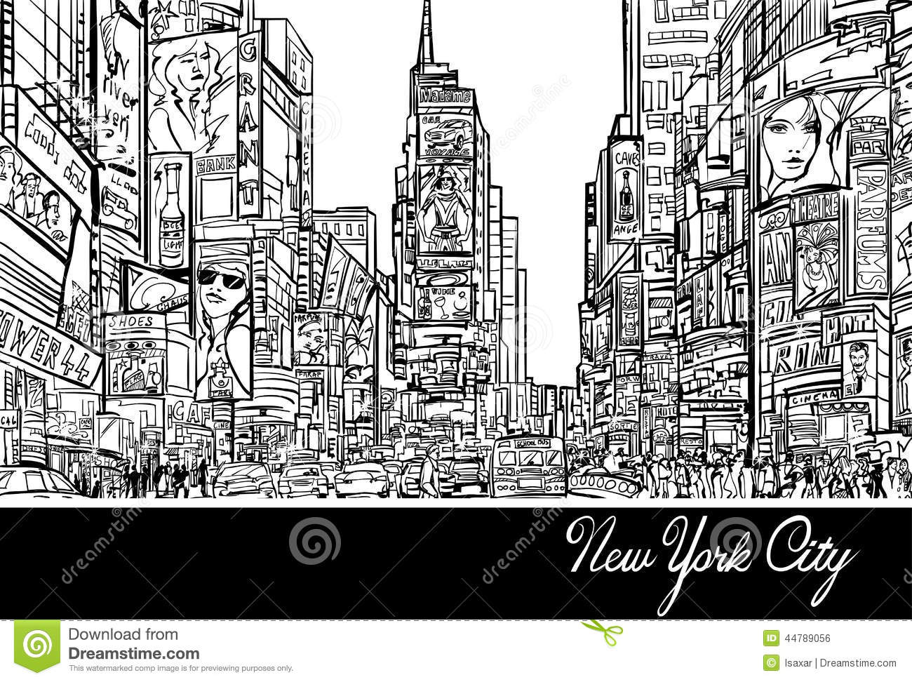 Times Square In New York Stock Vector - Image: 44789056