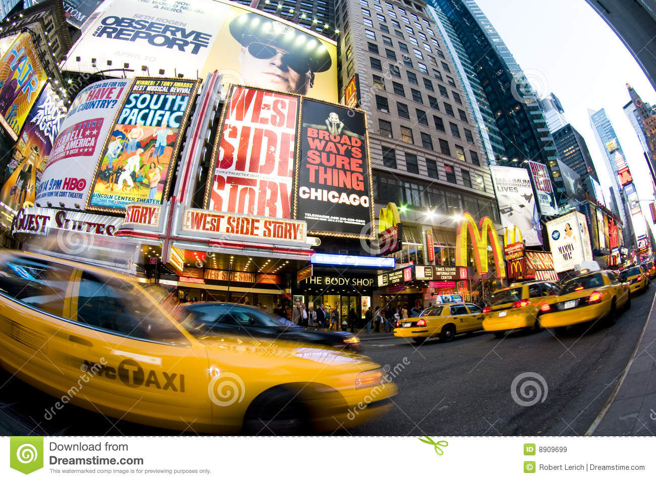 Times Square New York Taxi Movement Editorial Stock Image