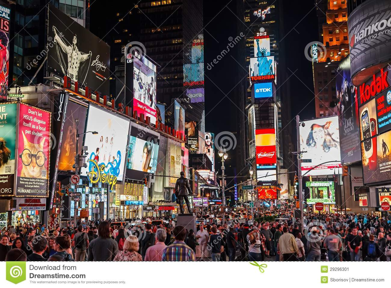 Times Square At Night Editorial Photo Image 29296301