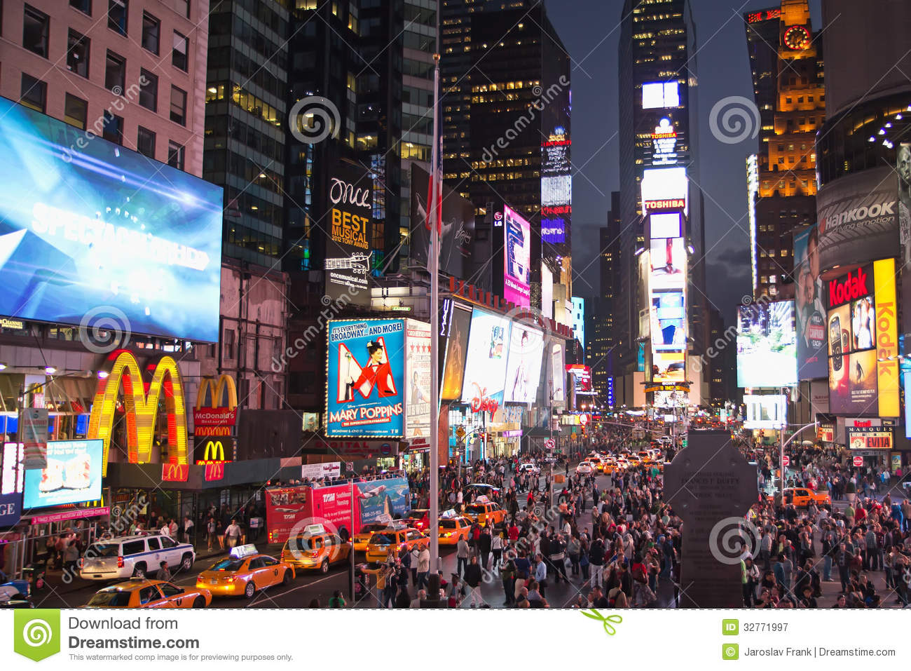 Times Square At Night New York City Usa Editorial