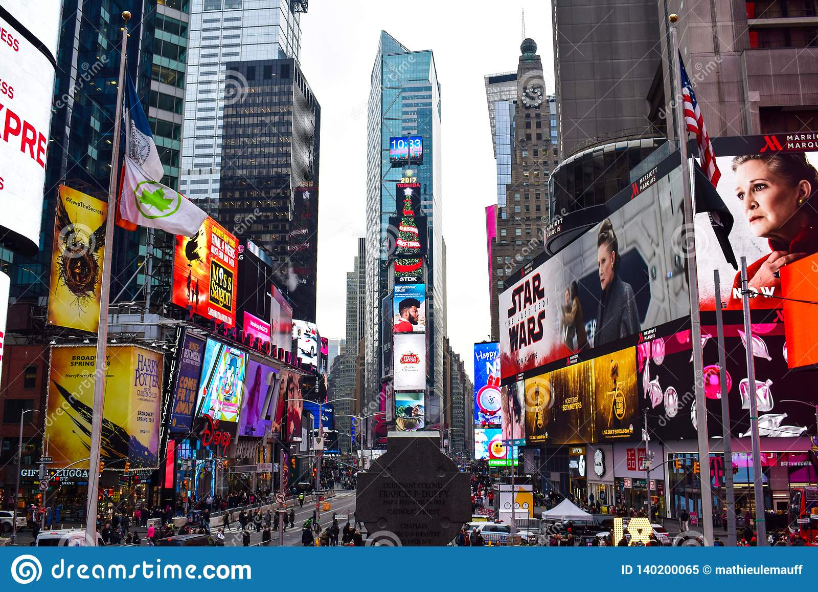 Times Square przegląd podczas boże narodzenie sezonu